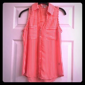 Express pink & white striped portofino shirt xs